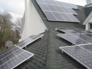 Completed solar panel installation on church