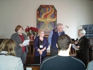 From L to R: Reverend Christine E. Hillman, Sharon van Abbema, John van Abbema, Bill Baylis